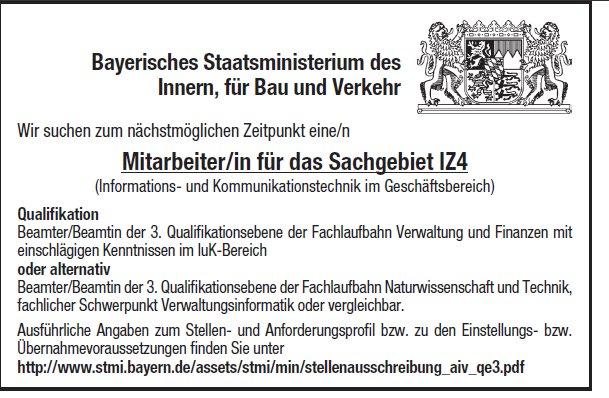 Stellenanzeige des Bayerischen Staatsministeriums des Inneren
