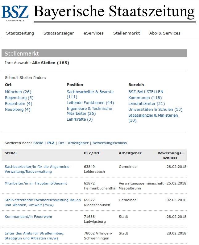 Stellenbörse der Bayerischen Staatszeitung
